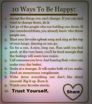 10 ways to be happy! #quotes #tips