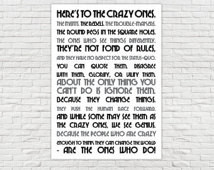 "A3 Poster - Inspirational Quotes - ""Here's to the crazy ones. The ..."