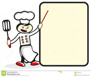 Funny chef in front of presentation board.