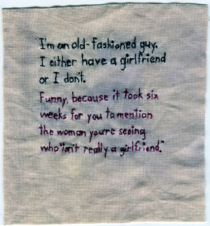 """Girlfriend."""" 2012. Embroidery on fabric dyed with purple onion skin ..."""
