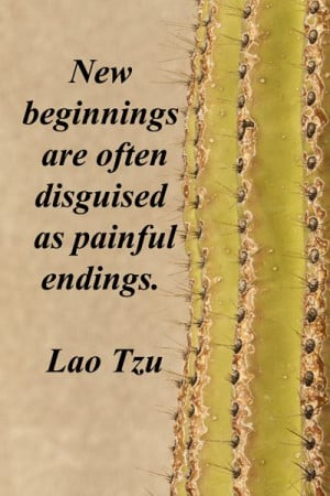 "New beginnings are often disguised as painful endings."" -- Lao Tzu ..."