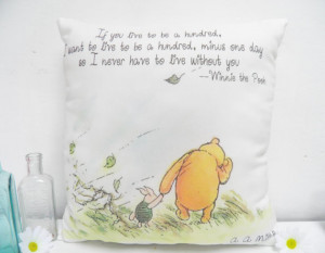 Winnie the Pooh & Piglet Live to be 100 Medium Quote Pillow for ...