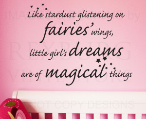 ... Wall Decal Sticker Quote Vinyl Art Little Girls' Dreams Magical Girl's