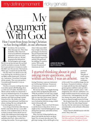Ricky Gervais - My Argument With God: How I went from Jesus-loving ...