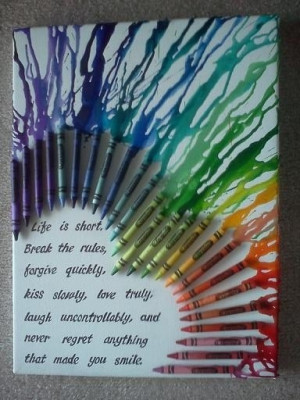 Melted Crayon Wall Art With A Quote