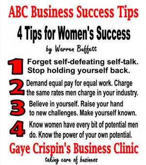 Tips For Women's Success from Warren Buffett #ABCSuccessTips Gaye ...
