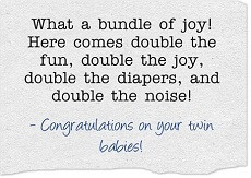 Baby Congratulations Cards For Twins / Triplets / Multiples: