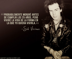 ... image include: sid vicious, spanish quotes, frases, group and music