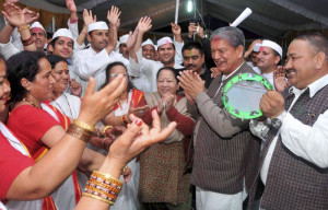 Uttarakhand Chief Minister Harish Rawat during the Holi Celebration in
