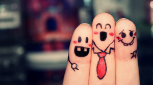 Funny best friends in finger