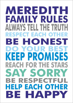 Personalised Family House Values Rules - Print Poster A3