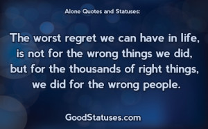 ... ~ Alone status / Facebook statuses, quotes, messages and sayings