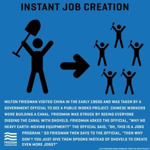 spoons instead of shovels jobs program milton friedman