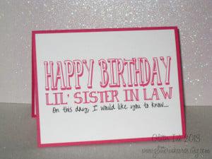 Funny Sister Birthday Card - Sister in Law Birthday - Best Friend ...