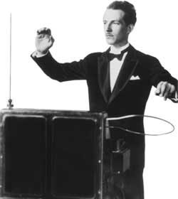 Leon Theremin playing the instrument he invented.