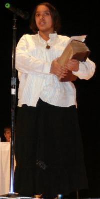 ... Sandoval practices her speech as Elizabeth Blackwell, the first