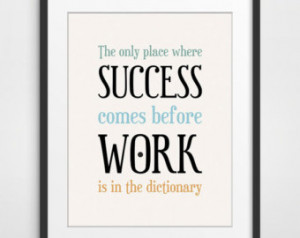 Inspirational Quote, Office Decor, Typography Poster, Success Quote ...