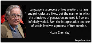 ... and use of words involves a process of free creation. - Noam Chomsky