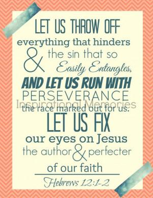 Framed Bible Verse Print Hebrews 12:1-2