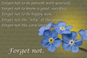 He reminded us just as the forget me not flower has five petals, there ...