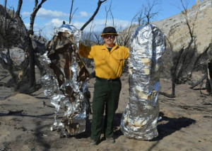 conventional fire shelter after exposure to the heat of a forest fire ...