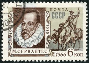 Cervantes Saavedra (1547-1616), Spanish writer, and Don Quixote