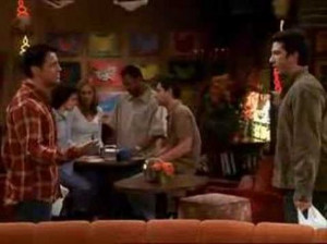 ... Joey accidentally punches Ross. Twice. And misuses air-quotes.