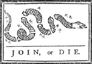 Black and white political cartoon depicting a snake cut into pieces ...
