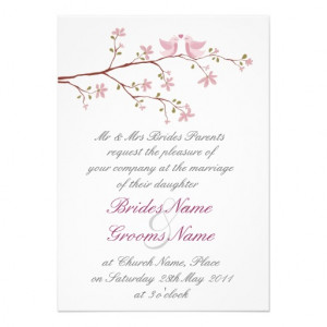 Love Birds Wedding Invitation Wording