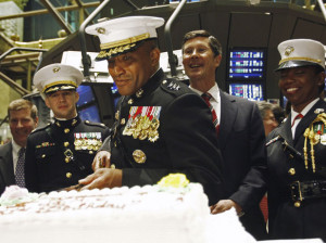 ... cuts a cake to celebrate the birthday of the U.S. Marine Corps