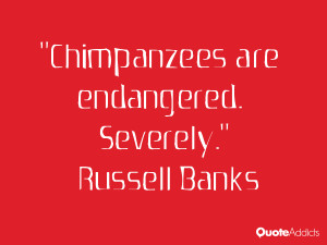 russell banks quotes chimpanzees are endangered severely russell banks