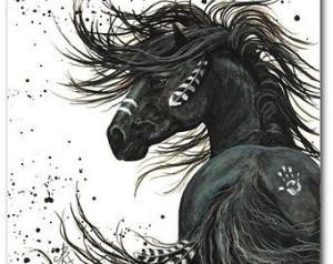 SALE - Majestic Horses - Black Stallion Spirit Native Feathers -Fine ...