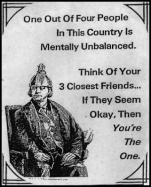 One Out Of Four People In This Country Is Mentally Unbalanced