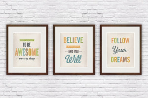 Art Quotes & Signs Quote print set of three, Shabby chic wall art ...