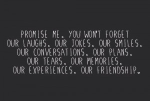 Promise me. you won't forget our laughs. Our jokes. our smiles. our ...