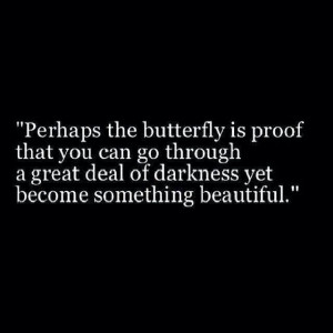 ... go through a great deal of darkness yet become something beautiful