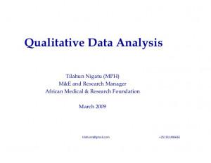 Qualitative Data Analysis Tilahun Nigatu (MPH) M&E and Research ...