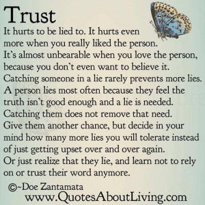 Yes, trust, or lost trust....