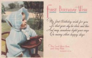 Vintage BIRTHDAY POSTCARD c1951 First Birthday Wish Girl Bible Quote