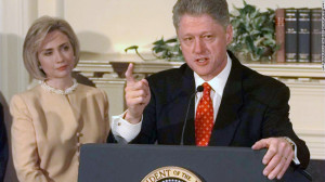 President Bill Clinton speaks about the Monica Lewinsky scandal at the ...