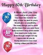 Fridge Magnet - Personalised Mum Poem - 80th Birthday + FREE GIFT BOX