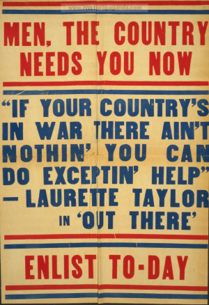Men, the country needs you now Enlist to-day.