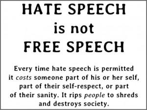 Hate speech is not free speech