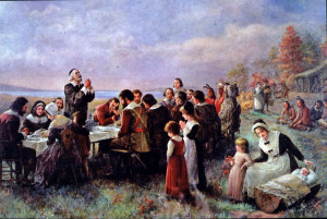 """Jennie Brownscombe, """"The First Thanksgiving at Plymouth,"""" 1914."""