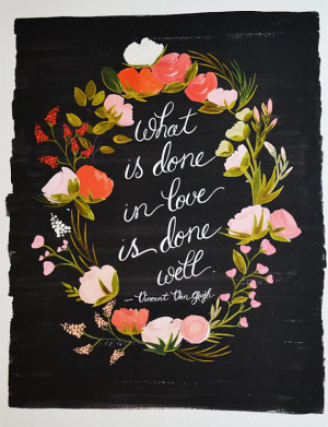 Van Gogh Quote Art Print floral Love 11 x 14
