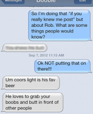 turned to my sister boobie who knows me very well and knows my husband ...
