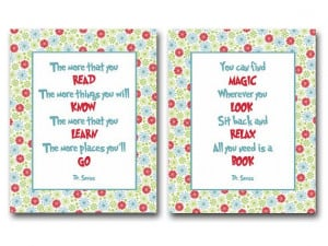 Dr Seuss quotes about reading books - set of 2 prints / posters for ...