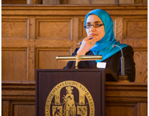 Dalia Mogahed speaks at Leiden University. Photo: Leiden University