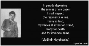 In parade deploying the armies of my pages, I shall inspect the ...