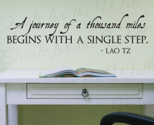 Journey of a Thousand Miles Motivational Vinyl Wall Decal Quote
